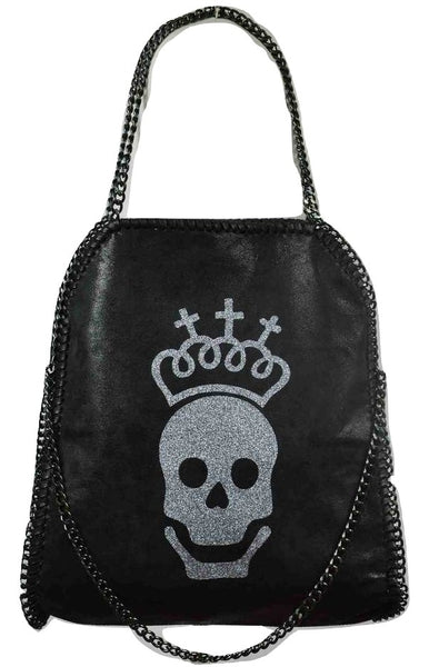 Disegno Mio Limited Edition skull glitter printed large black chain shoulder tote bag