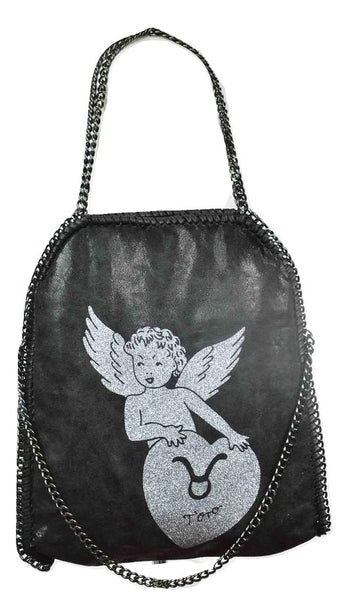 Disegno Mio womens Taurus 'Toro' glitter printed large black chain shoulder tote bag