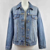 Disegno Mio womens Cancer 'Cancro' printed mid wash denim jacket embellished with Swarovski® crystals