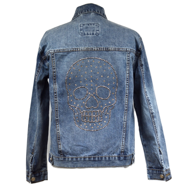 Limited Edition Swarovski® Large Chrome Skull Denim Jacket - DISEGNO MIO