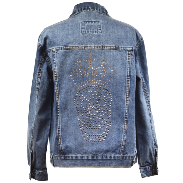 Limited Edition Swarovski® Chrome Skull & Crown Denim Jacket - DISEGNO MIO