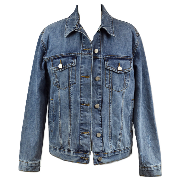 Limited Edition Swarovski® Chrome Cross Denim Jacket - DISEGNO MIO