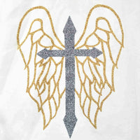 Disegno Mio Women's Limited Edition metallic cross and wings printed white hoody