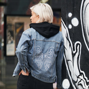 Limited Edition Swarovski® Clear Wings Denim Jacket - DISEGNO MIO