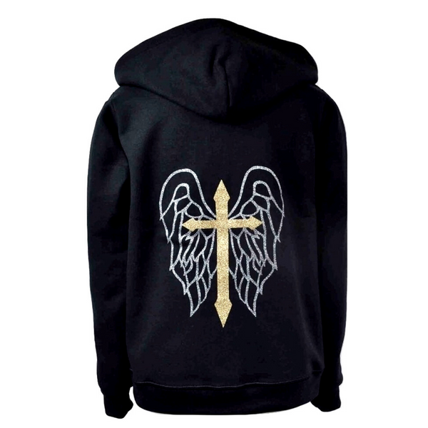 Limited Edition Cross & Wings Black Hoody - DISEGNO MIO