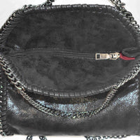 Disegno Mio womens Scorpio 'Scorpione' glitter printed black small chain crossbody bag