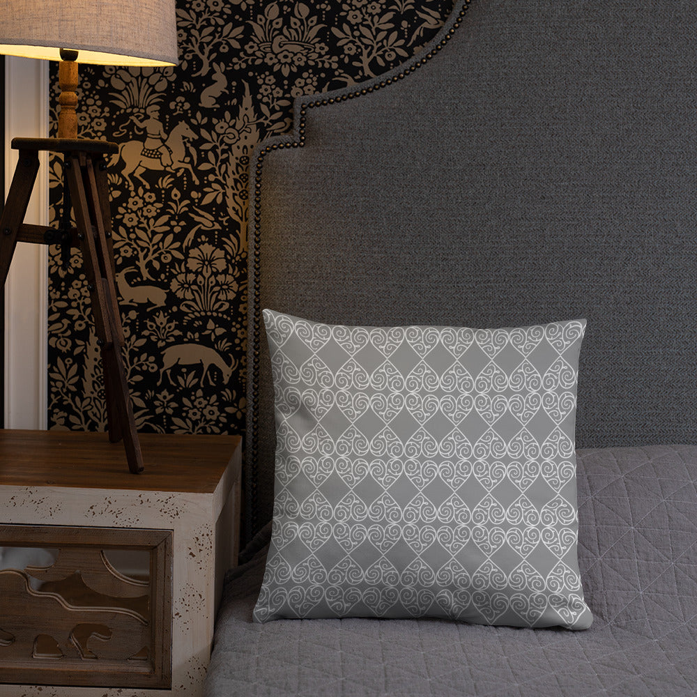 Grey and White  Decorative Pillow
