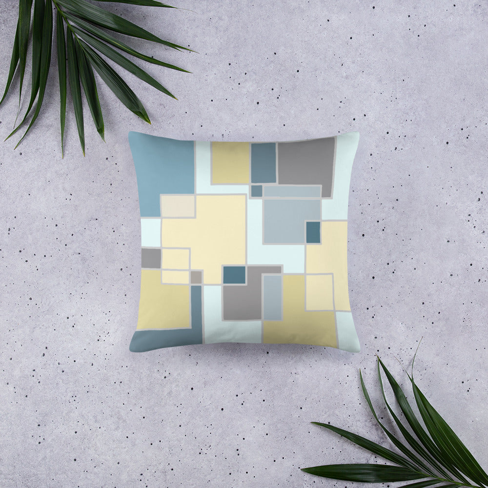 Decorative pillows,  Home decor, sky blue yellow pillows 18x18