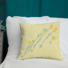Load image into Gallery viewer, Flower Pillow Premium Pillow Yellow and Blue Flower Pillow