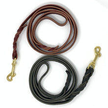 black and chestnut leather dog leashes