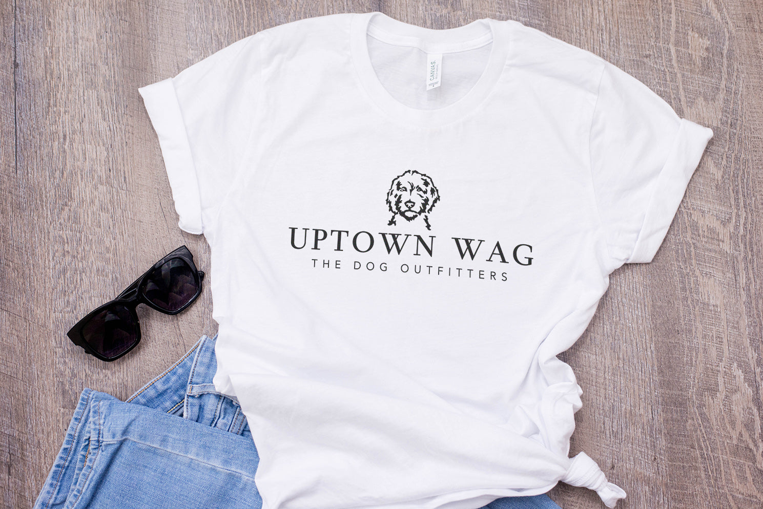 Uptown Wag Shirt, Kelsey Mundfrom, Dog Mom Apparel, Flatlay