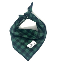 Green Black Plaid Dog Bandana