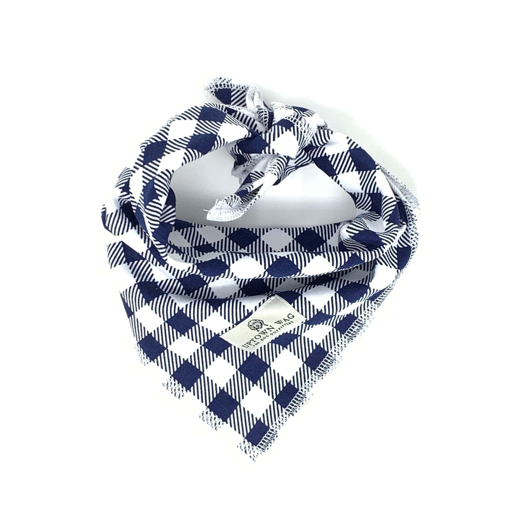 Navy Check Dog Bandana