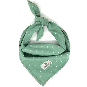 green polka dot dog bandana