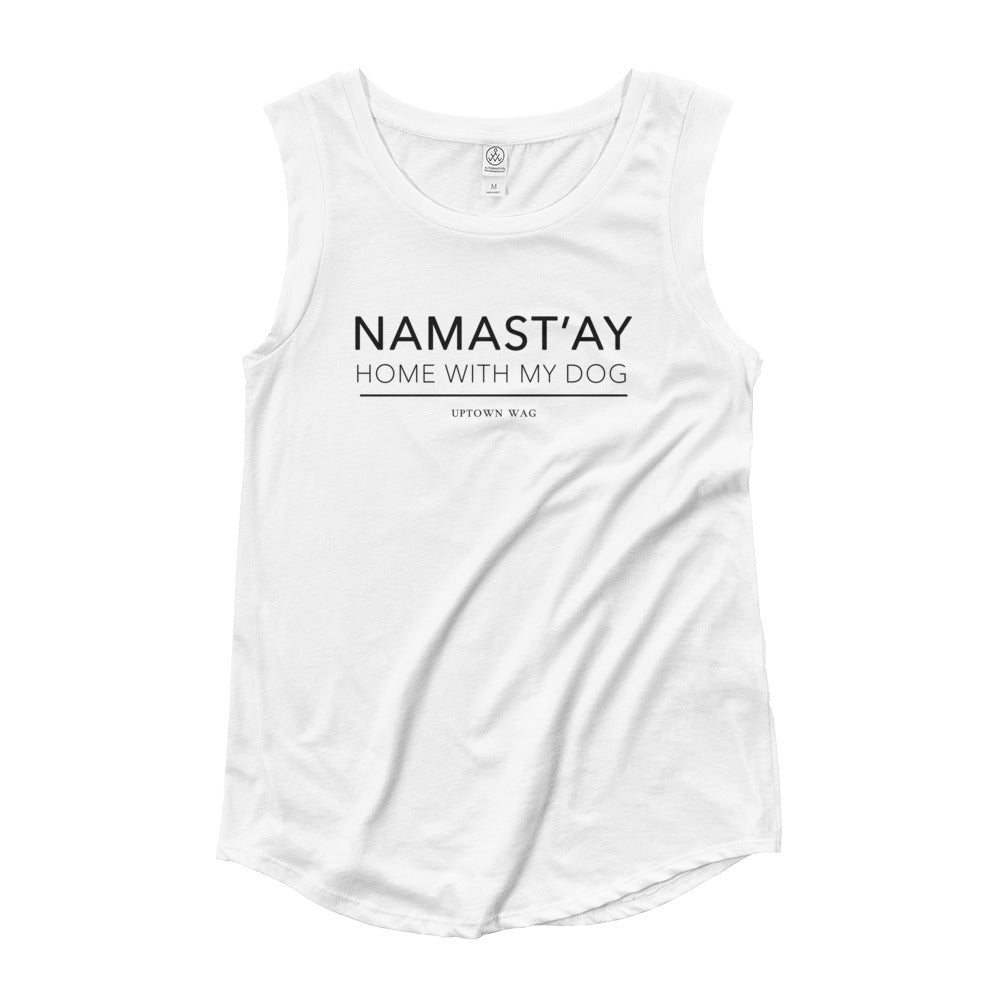 'Namast'ay Home With My Dog' White Tank