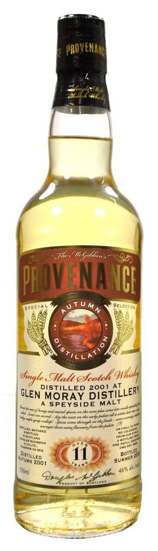 Douglas Laing McGibbons Provenance Glen Moray 11 Year Old Single Malt Scotch Whisky