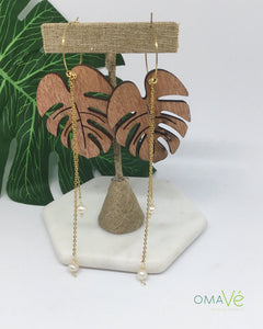 Monstera Wood Earrings
