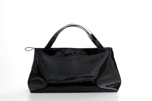 Black patent leather minimalist handbag