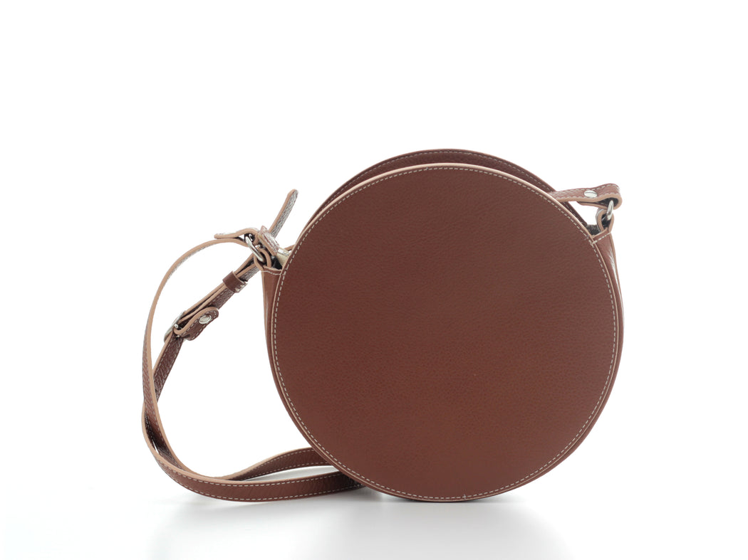 Small Brown Leather Circle Crossbody Bag