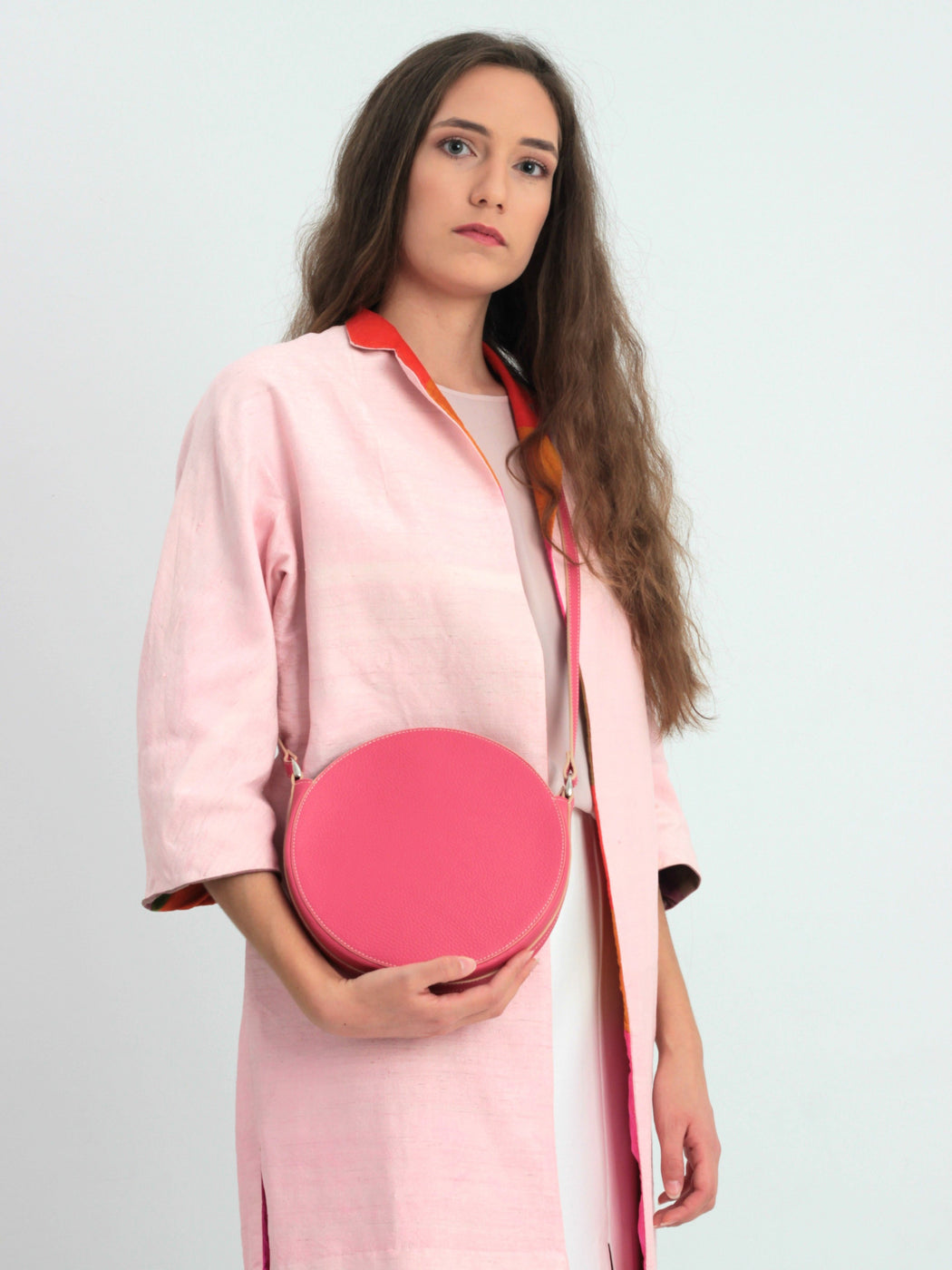 Small Pink circle crossbody Purse, Round Handbag