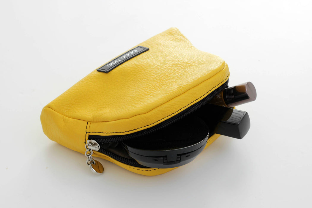 Leather makeup case yellow, leather pouch, cosmetic bag, makeup case, cosmetic case, mothers day gift, makeup bag, leather case,toiletry bag - Bogabag