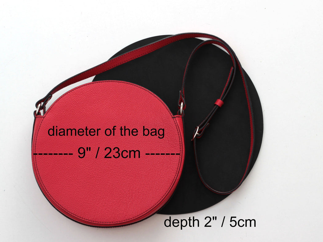 Red Circle Crossbody Bag - Round Purse Leather Crossbody Purse Cross Body Shoulder Bag