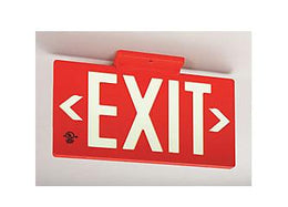Photoluminescent Red Face Exit Sign 50 Feet Viewing UL Listed- Universal Mount