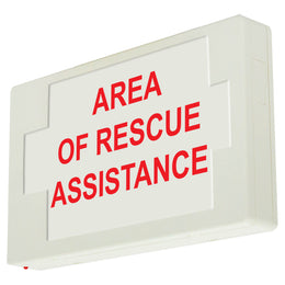 area of rescue assistance exit sign red letters white housing 90 minute battery