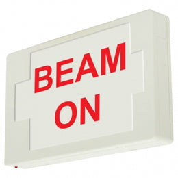 beam on sign exit sign with battery white housing red letters