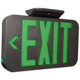 "modern black exit sign with green 6"" letters and battery back up"