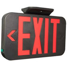 Thermoplastic Illuminex Exit Red LED with Battery - Directional Arrows - Black