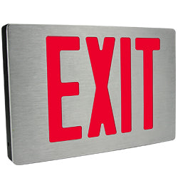 Brushed Finish Aluminum Exit Sign Red Letters with Battery UL 924