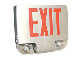 Die Cast Brushed Aluminum LED Combo Exit Sign - Red LED - Remote Capable