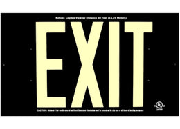 Photoluminescent Black Face Exit Sign 50 Feet UL 924 Listed - No Electricity - Made in USA