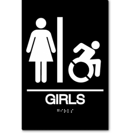 GIRLS Speedy Wheelchair Restroom Sign - NY and CT
