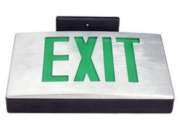 Cast Aluminum Exit Sign Green LED W/Battery Backup - Universal Mount