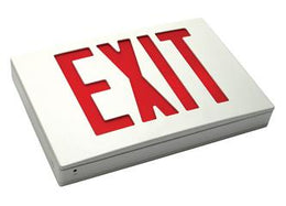 Aluminum Exit Sign Red LED White Housing Battery - UL Listed
