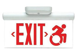 Connecticut Code Approved Clear Edge Lit Exit Sign Surface Mount Wheelchair Symbol Accessible