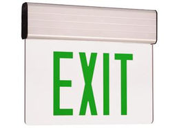 Edge Lit Exit Sign Green LED with Battery Back-up - Aluminum Housing - UL Listed