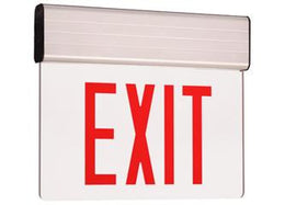 Edge Lit Exit Sign Red LED with Battery Back-up - Aluminum Housing - UL Listed