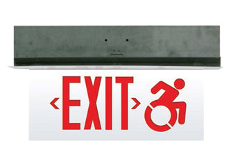 Connecticut Approved Edge Lit Exit Sign Recessed Wheel