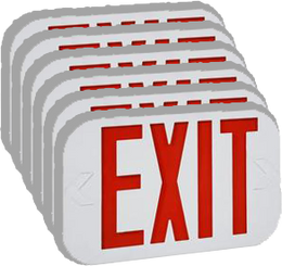 Thermoplastic Illuminex Exit Red Exit Sign LED with Battery - (Case of 6)