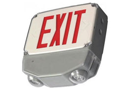 Wet Location All LED Emergency Combination Exit Sign - Universal Mount - Outdoor Rated - UL Listed