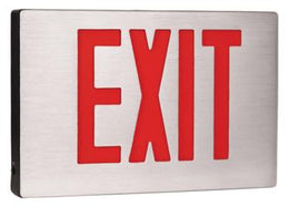 New York Compliant Brushed Aluminum Exit Sign with 90 Minute Battery - UL Listed
