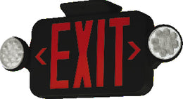 Compact Combination RED LED Exit Sign with Emergency Lights- Black Housing