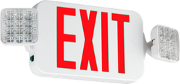 Compact Combination All LED Exit Sign RED With Emergency Square Lights - Case of 6