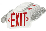 Compact Combination All LED Exit Sign RED With Emergency Lights - Case of 6
