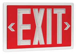 Tritium Self Luminous Exit Sign Red Face White Housing - No Electricity