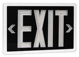 Tritium Double Face Self Luminous Exit Sign Black Face White Housing