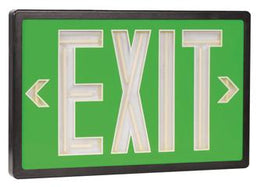 Tritium Double Face Self Luminous Exit Sign Green Face Black Housing